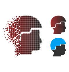 Dust pixel halftone soldier helmet icon vector
