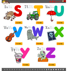 educational cartoon alphabet set for kids vector image