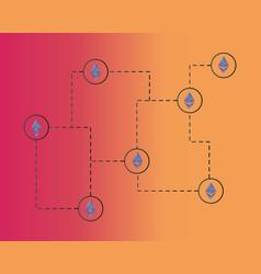ethereum classic blockchain network concept vector image