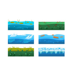 Fantasy platforms set water and ice textures for vector