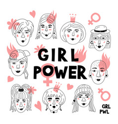 Feminism poster girl power card womens faces vector