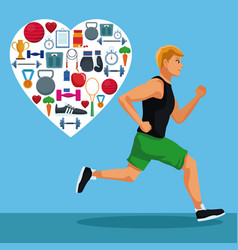 Fitness man running vector