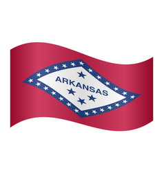 Flag of arkansas waving on white background vector