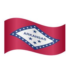 flag of arkansas waving on white background vector image
