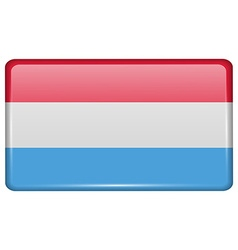 Flags Luxembourg in the form of a magnet on vector image