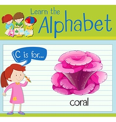 Flashcard letter C is for coral vector
