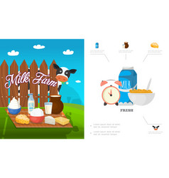 Flat dairy products concept vector