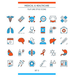 flat line design medical icons 2 vector image