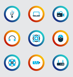 gadget icons colored set with headphone usb vector image