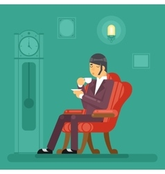 Gentlemen Tea Time Drink Evening Flat Design vector