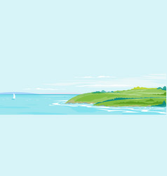 Green hills seaside landscape background vector