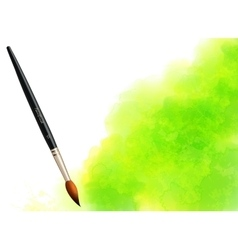 Green watercolor stain with paintbrush vector