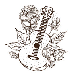 guitar maracas and roses outline isolated on vector image