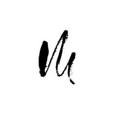 Hand painted letter m dry brush modern lettering vector