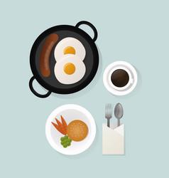 healthy breakfast scrambled eggs lunch food top vector image