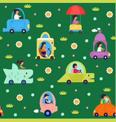 kids transport pattern transportation cartoon vector image
