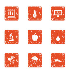 Lab establishment icons set grunge style vector