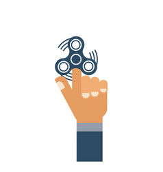 Left hand with hand spinner icon isolated on vector