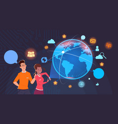 man and woman over world globe with social media vector image