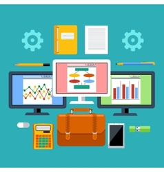 Management tools with digital devices concept vector image