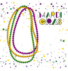 Mardi gras colorful background with necklaces and vector