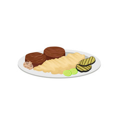 Mashed potatoes with meat and vegetables vector