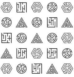 Maze icon set vector