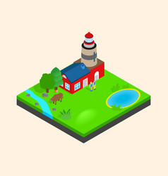 meadow beacon clip art isometric style vector image