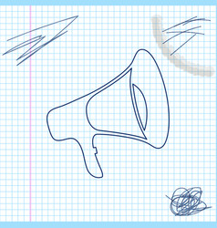 megaphone line sketch icon isolated on white vector image