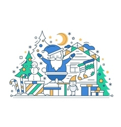Merry Christmas - line design card vector image