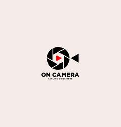 Modern camera and movie logo design template vector