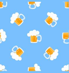 mug beer with foam oktoberfest seamless pattern vector image