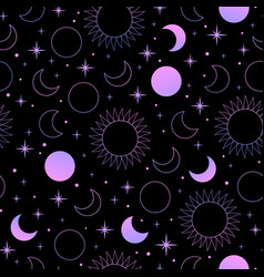 mystical esoteric pattern with sun moon and stars vector image