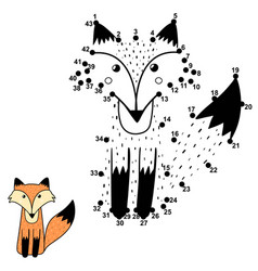 Numbers game for kids with a cute fox vector