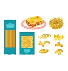 Pasta products set vector