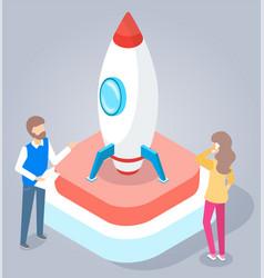 people stand near rocket or spaceship engineering vector image