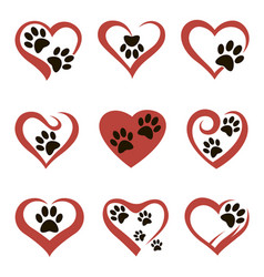 pet footprint set vector image