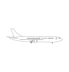 Plane drawn with lines to high detailed side view vector