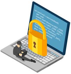 programmer working on computer near big lock vector image