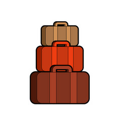 Pyramid suitcases many bag isolated vector