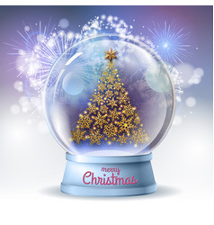 Realistic snow globe with golden christmas tree vector