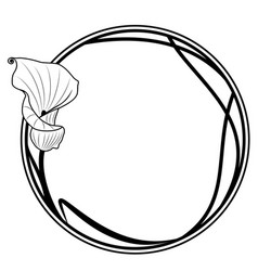 Round frame with lily vector