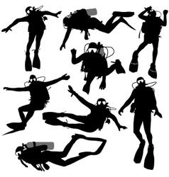 Set black silhouette scuba divers vector image