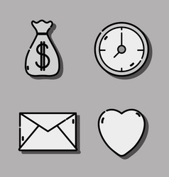 set business icons to strategy team vector image