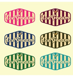 Set of vintage ice cream labels vector