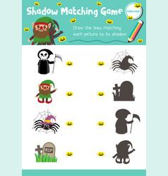 Shadow matching game halloween 10 vector