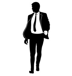 silhouette of a walking man in a suit and tie vector image