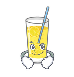 smirking lemonade character cartoon style vector image