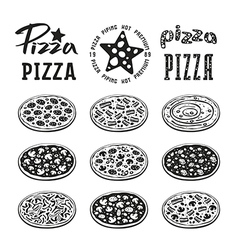 Stock of pizza varieties vector