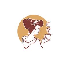 Tea time logo template with image retro lady vector